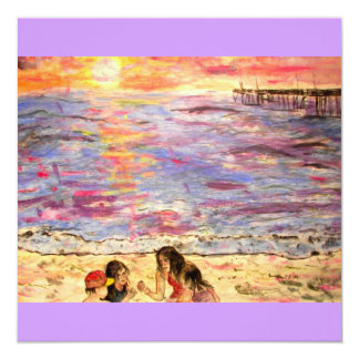 shell seekers at sunset card