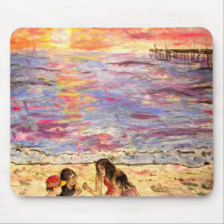 shell seekers at sunset mouse pad