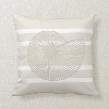 Beach Themed Shell Striped Pillow in Sand