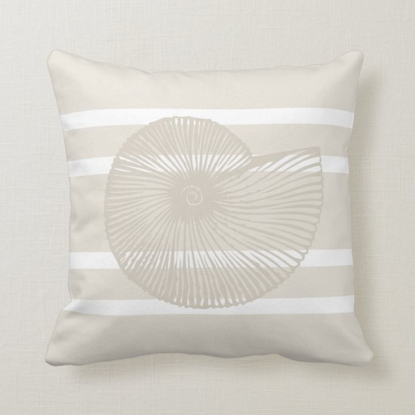 Shell Striped Pillow in Sand