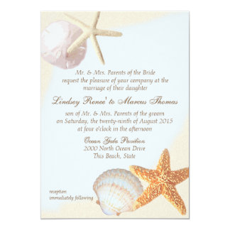 """Shell vara el boda de las estrellas de mar invitación 5"""" x 7"""""""