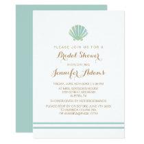 Shell Watercolor Aqua Bridal Shower Invitation