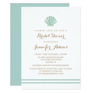 Shell Watercolor Aqua Bridal Shower Invitation