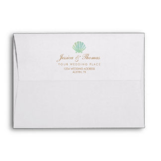 Shell Watercolor Aqua Wedding Envelope