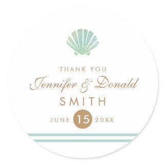 Shell Watercolor Aqua Wedding Favor Sticker