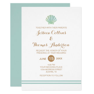 Shell Watercolor Aqua Wedding Invitation Card