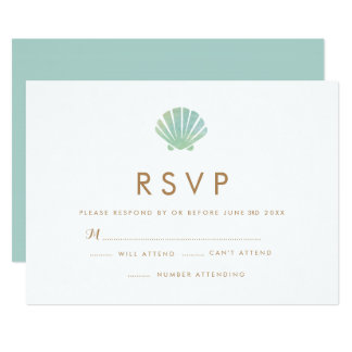 Shell Watercolor Aqua Wedding RSVP Card