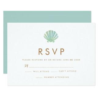 Shell Watercolor Aqua Wedding RSVP Card