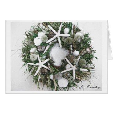 Christmas Themed Shell Wreath Card