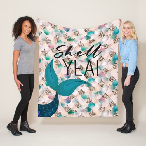 Shell Yea Teal  Gold Glam Mermaid Tail  Scales Fleece Blanket