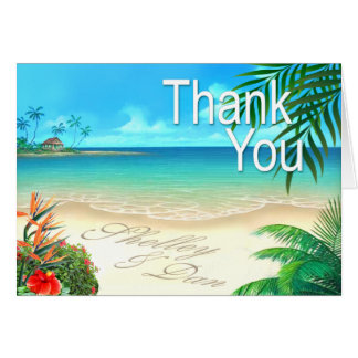 Shelley & Dan Exotic Beach Thank You ::custom:: Card