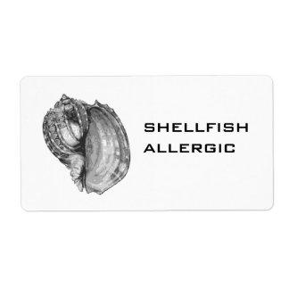 Shellfish Allergic label