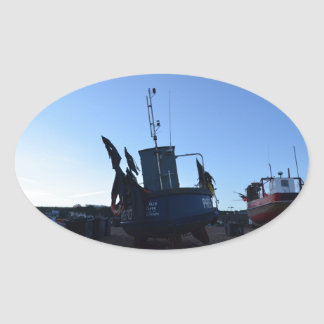 Shellfish Boat Fair Trade Oval Sticker
