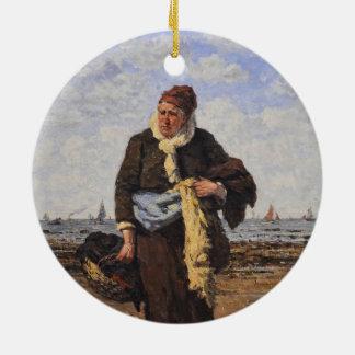 Shellfish Vendor in Honfleur by Louis A Dubourg Christmas Ornament