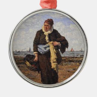Shellfish Vendor in Honfleur by Louis A Dubourg Christmas Tree Ornament
