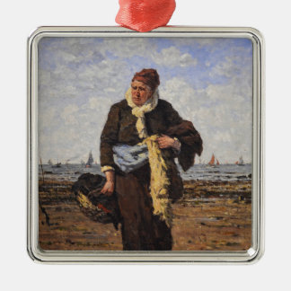 Shellfish Vendor in Honfleur by Louis A Dubourg Christmas Tree Ornaments