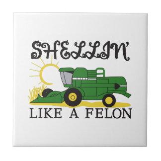 Shellin Like a Felon Small Square Tile
