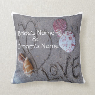 shells & 2 hearts on beach custom wedding pillow