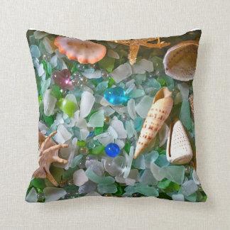 Shells and Beach Glass Throw Pillow
