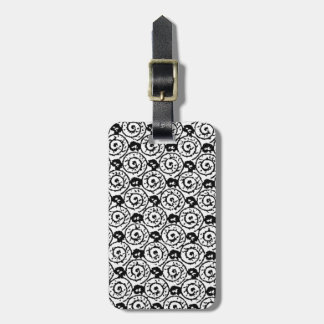 Shells and Flowers Black and White Bag Tag
