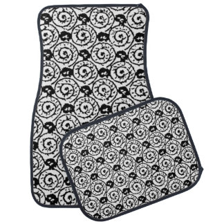 Shells and Flowers Black and White Car Mat