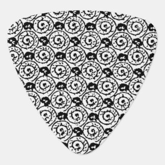 Shells and Flowers Black and White Guitar Pick