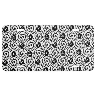Shells and Flowers Black and White License Plate