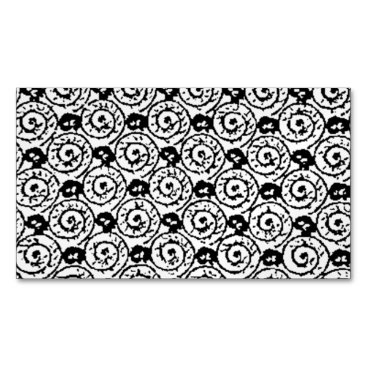 Beach Themed Shells and Flowers Black and White Magnetic Business Card