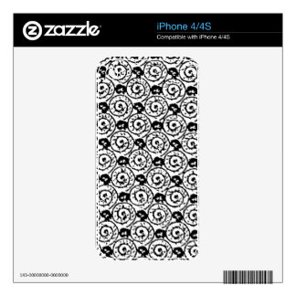 Shells and Flowers Black and White Skin For iPhone 4