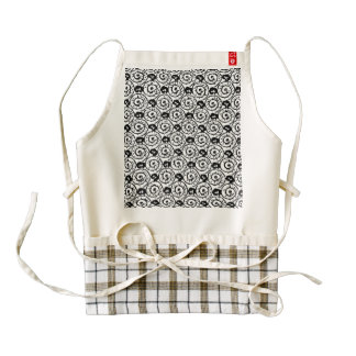 Shells and Flowers Black and White Zazzle HEART Apron