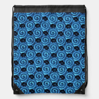 Shells and Flowers Blue Drawstring Bag