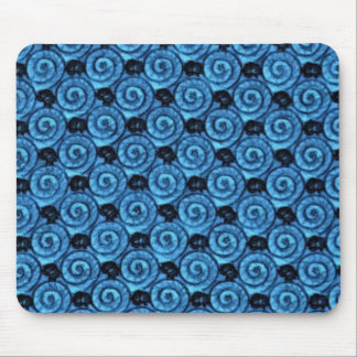 Shells and Flowers Blue Mouse Pad