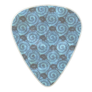 Shells and Flowers Blue Pearl Celluloid Guitar Pick