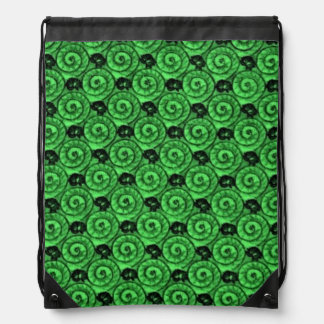 Shells and Flowers Green Drawstring Bag