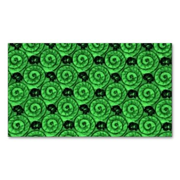 Beach Themed Shells and Flowers Green Magnetic Business Card