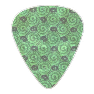 Shells and Flowers Green Pearl Celluloid Guitar Pick