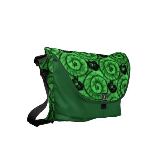 Shells and Flowers Green Small Messenger Bag