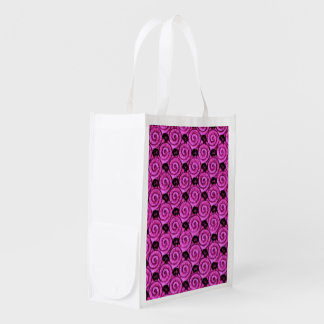 Shells and Flowers Pink Grocery Bag