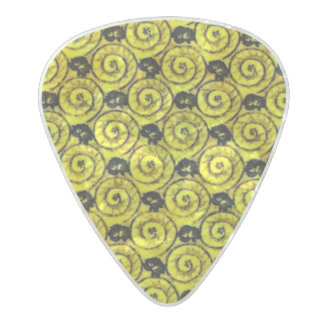 Shells and Flowers Yellow Pearl Celluloid Guitar Pick