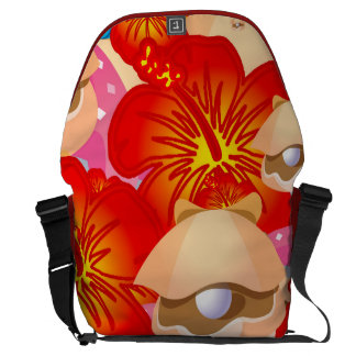 Shells and hibiscus courier bags