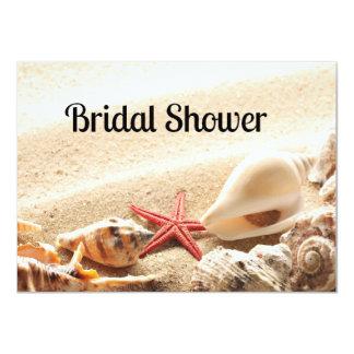 "Shells and Starfish Bridal Shower Invitation 4.5"" X 6.25"" Invitation Card"
