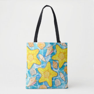Shells and Starfish on Watercolor Ocean Background Tote Bag