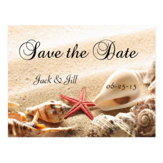 Shells and Starfish Save The Date Postcard
