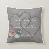 shells & heart on beach custom wedding pillow