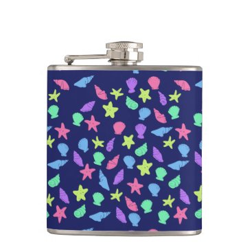 Beach Themed shells in neon flask