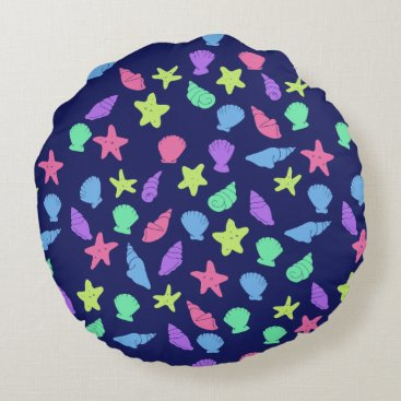 Beach Themed shells in neon round pillow