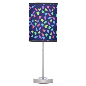 Beach Themed shells in neon table lamp