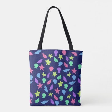 Beach Themed shells in neon tote bag