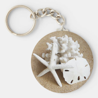 Shells in the Sand Basic Round Button Keychain