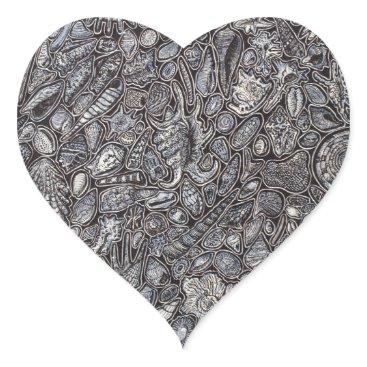 Beach Themed Shells marine Decoration of shells Heart Sticker